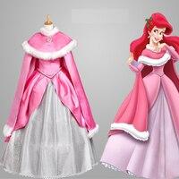 Hero catcher nova alta qualidade custom made sereia traje traje do estágio traje da princesa ariel princess pink dress