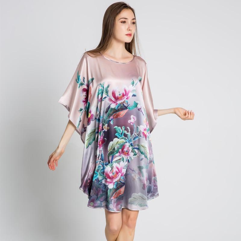 Summer Sexy Silk   Nightgown     Sleepshirts   Women Plus Size Sleepwear Lounge Casual 100% Mulberry Silk Nightwear Female Dress SQ004