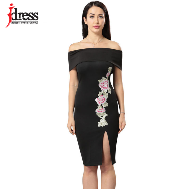5407e6f9b17 US $15.51 11% OFF|IDress Strapless Summer Dresses Club Split Ruffle Flower  Floral Embroidery Bodycon Dress Black Sexy Off Shoulder Party Dresses-in ...
