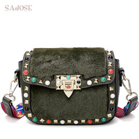Women Shoulder Bags With Bags Patchwork Fuax Fur Leather Fashion Vintage Rivet Crossbody For Girl Autumn