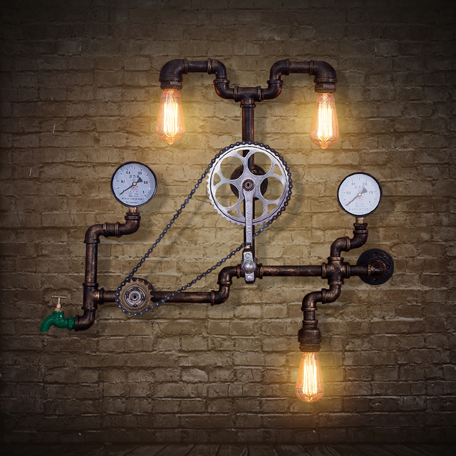 Industrial Pipe Wall Light: Retro Water Pipes American Cafe Bar Wall Lights Retro Loft