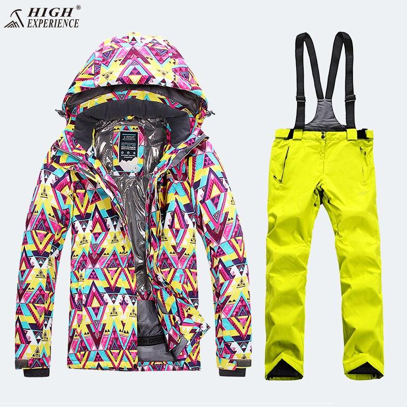 Combinaison de Ski d'hiver pour femmes veste d'hiver pantalon pour femmes ensemble de snowboard femme costume de Sport de plein air imperméable à l'eau en plein air Snowsuit-30