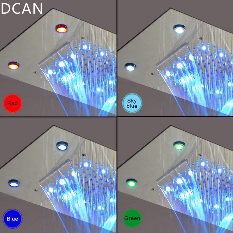 DCAN LED Ceiling Shower Head Rain Waterfall Shower Massage Jets Wall Mounted Panel Tap Sets Thermostatic Mixer in Shower Faucets from Home Improvement