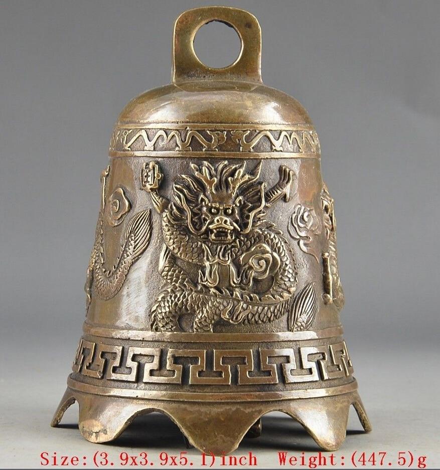 WBY 527 ++++++Prayer Handwork Hammered Chinese Brass Old Dragon Embossment BellWBY 527 ++++++Prayer Handwork Hammered Chinese Brass Old Dragon Embossment Bell
