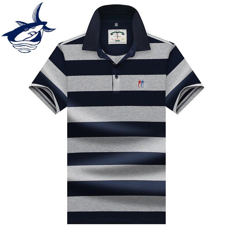 2019 New Summer Casual & Fashion Men   Polo   Shirt 3D Embroidery Striped   Polo   Shirts Brand Tace & Shark   Polos   Shirts para hombre