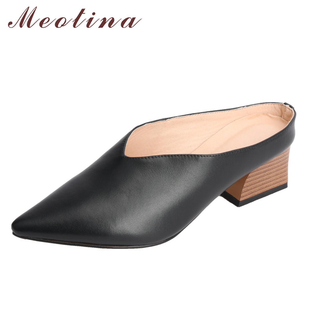 цены Meotina Genuine Leather Women Pumps Med High Heel Slip On Mules Shoes Slingbacks Pointed Toe Slippers Block Heel Lady Shoes New