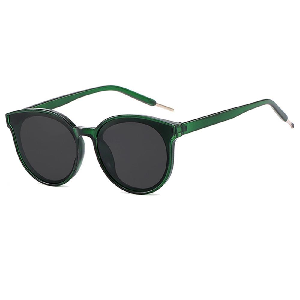 Унисекс солнцезащитные очки ретро яркий черный серый привод праздник круглый Неполяризованный UV1055