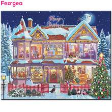 Fezrgea DIY Diamond Painting Cross Stitch Diamond Mosaic Crafts Full Round Resin Drill Diamond Embroidery Christmas Snow House(China)