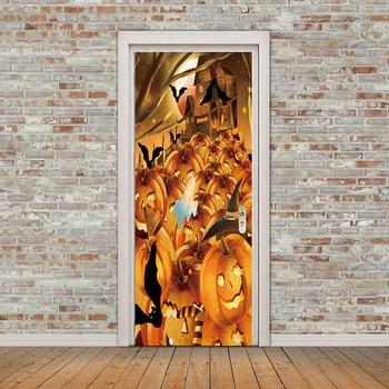 Pegatinas de vinilo de calabaza de 77x200cm para pared, pegatinas para puerta, calcomanías de calabaza, pegatinas de decoración de Halloween