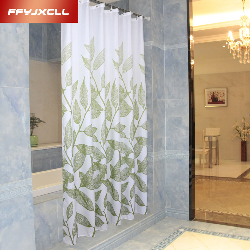 Home Decoration Bathroom Shower Curtain Waterproof Polyester Fabric Green leaves Bath Curtain Cortina 12 Hooks ...