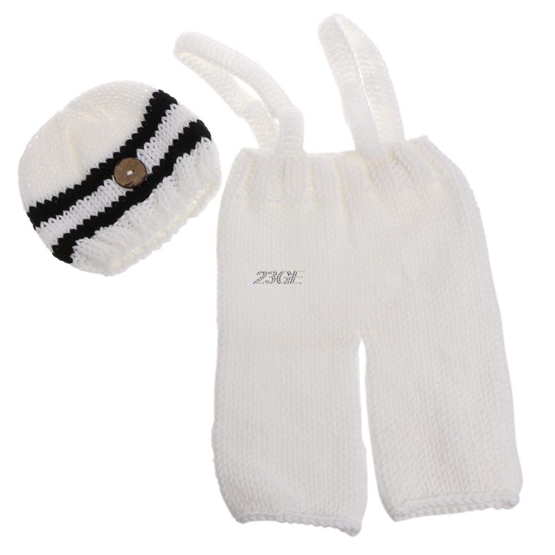 2017 Handmade Knitting Soft Hat Pants Set Baby Clothing Accessories Photography Props MAR30_17