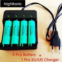 Nightkonic 4 PCS/LOT 18650 battery   3.7V Li-ion Rechargeable Battery  18650B Flat top Green + 1 PCS (EU/US)  Charger цена