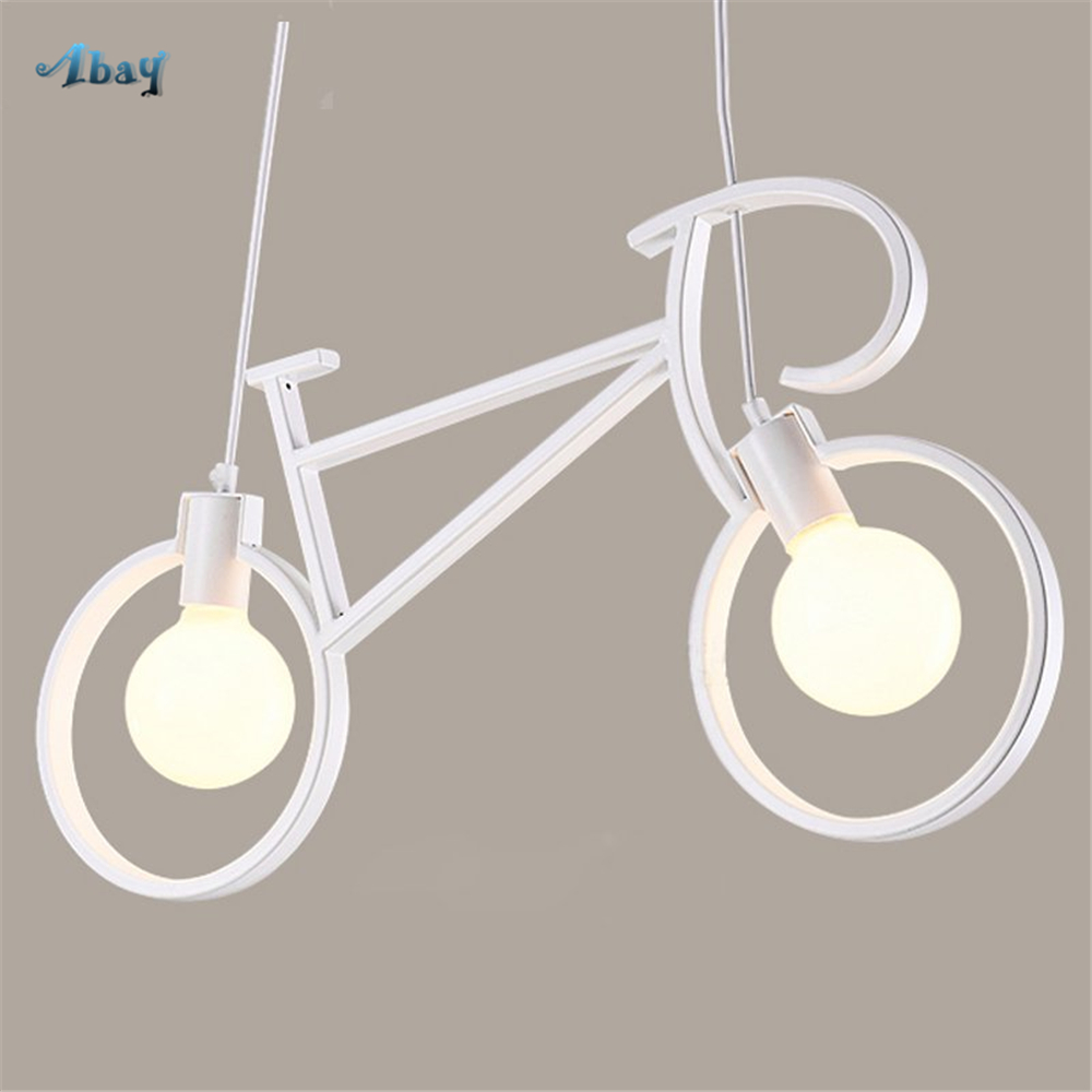 Nordic Creative Bicycle Shape Pendant Lights for Children Bedroom Study vintage Industrial Hanging Lamp living room decorationNordic Creative Bicycle Shape Pendant Lights for Children Bedroom Study vintage Industrial Hanging Lamp living room decoration