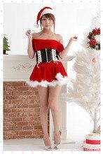 Traje de la navidad de Señora Nuevo Rojo Sexy Hombro Desnudo Traje de Navidad Sexy Disfraces De Halloween Cosplay Mascarada B-3858