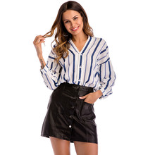 Womens Striped Print Shirts V Neck Summer Designer Female Clothing Office Lady Style Casual Apparel