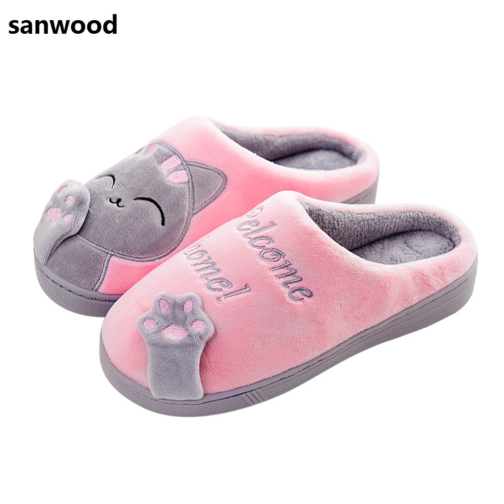 Cute Plush Cartoon Cat Home Slippers Warm Bedroom Indoor Women's Floor Shoes