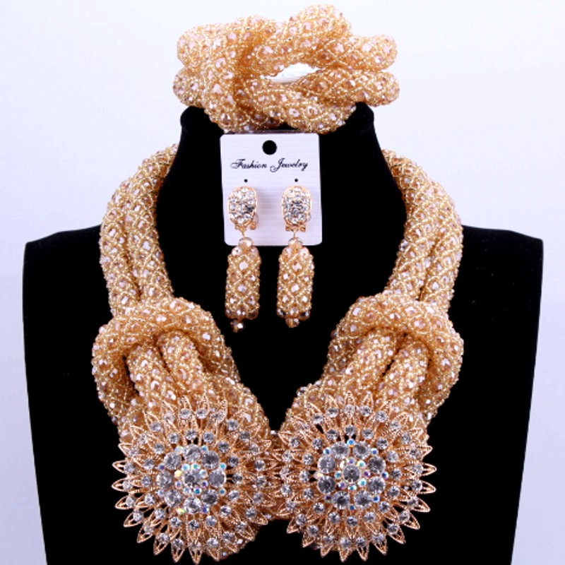 Luxury Costume African Jewelry Sets Gold Color Nigerian Wedding Beads Sets For Bride Women 2018 Bridal Jewellery Necklace Set