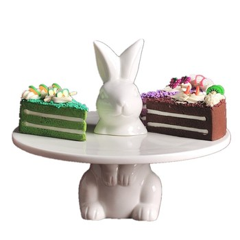 Serving Tray Stand   Creative Porcelain Rabbit Cake Stand Ornament Ceramic Hare Dessert Serving Tray Cake Tableware Decor Gift Craft Supplies L3187