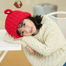 2016 Высокая эластичность Осень Зима Кроличьи уши стиль Ребенок вязаная шапка дети девочки шерстяные шляпы Возраст для 1-5 лет