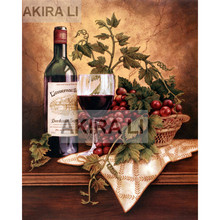 Diamond painting 5D DIY full square diamond beautiful red wine, cup, fruit cross stitch landscape home decoration gift mosaic