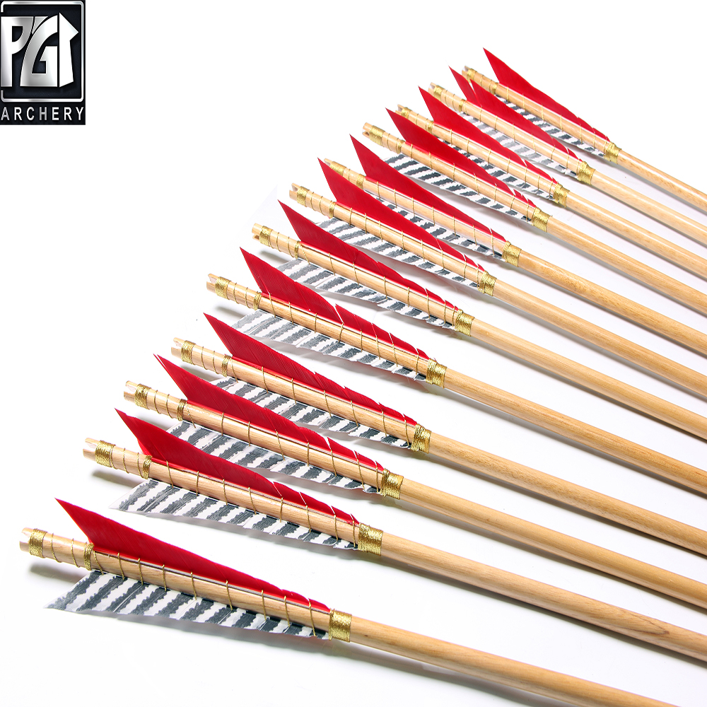 12pcs Archery Practice Target Arrow Fletched 3 Vanes for Compound /& Recurve Bow PG1ARCHERY 32 Inch Fiberglass Arrows
