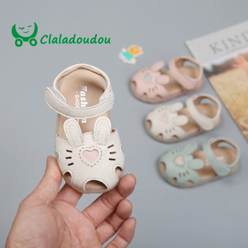 Claladoudou 12-16cm 0-3years Old Baby Girls Summer Sandals Cute Cartoon Closed Toe Party Birthday Dress Shoes For Toddler