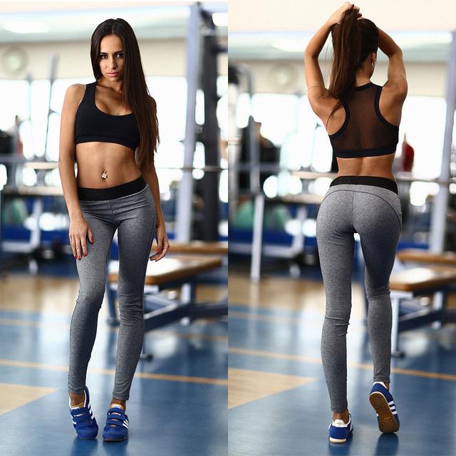 Treino de verão para Mulheres Sportswear Roupas de Fitness Moda Net Fios Patchwork Sem Mangas de Duas Peças Set fatos de Treino Das Mulheres