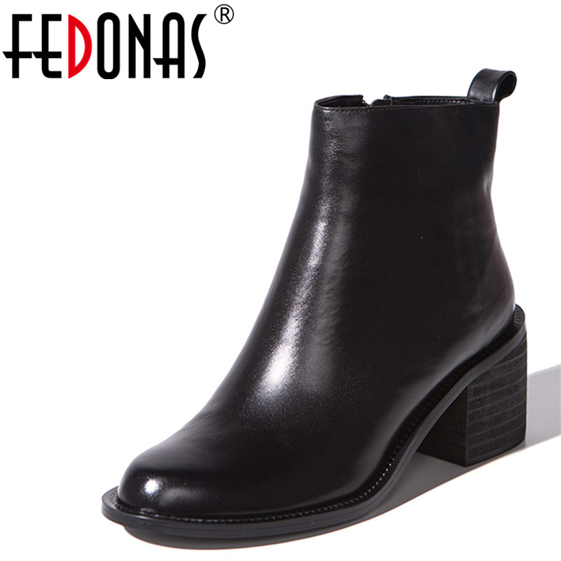 FEDONAS Fashion Women Ankle Boots Genuine Leather Autumn Winter Warm High Heels Shoes Woman Zipper Quality Wedding Martin Boots liren autumn winter snow boots square high heels shoes casual martin boots women fashion zipper genuine leather ankle boots