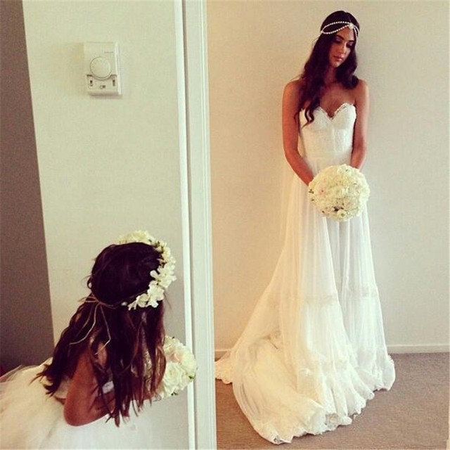 Romantic Lace Bridal Gowns Beach Chiffon Bohemian Wedding Dress 2016 Tiered Vestidos De Novia Casamento Longo Custom Backless
