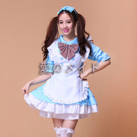 Women Girls Lolita Style Cute Japan Maid Apron Dress With Bowtie Cosplay Gift Mulit Color M XL