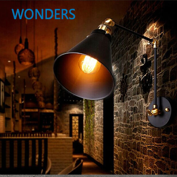 Industrial Style Double Wall Lights : Black Industrial Vintage Wall Lamps Simple style Wall Lights LOFT Little Umbrella Double Arm ...