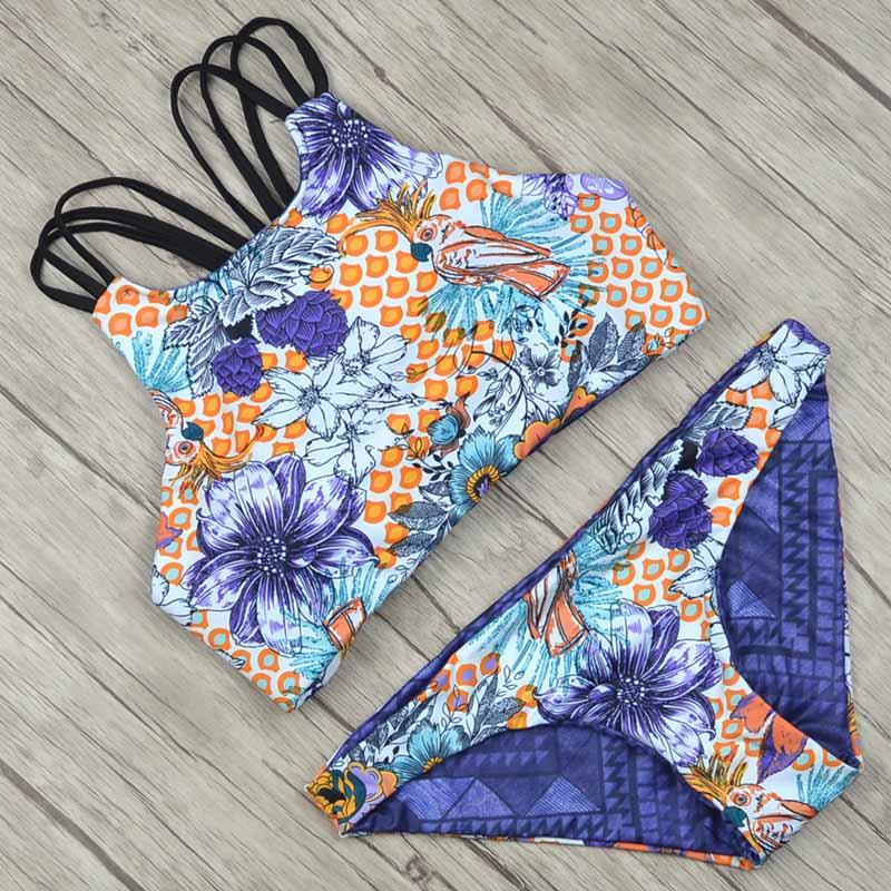 2018 Для женщин купальник женский Высокая шея цветочный сексуальный повязку короткий топ купальники Для женщин бикини