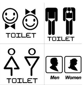 Hotel Store Door Glass Window Sign Sticker Adhesive Service Warning Label WC Toilet Man And Woman