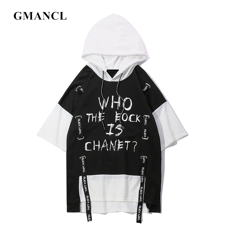 Men New Summer Oversize Graffiti Letter Printed Hooded T-shirt Harajuku Hip Hop Ribbon Short Sleeve Hoodies Tshirts Streetwear