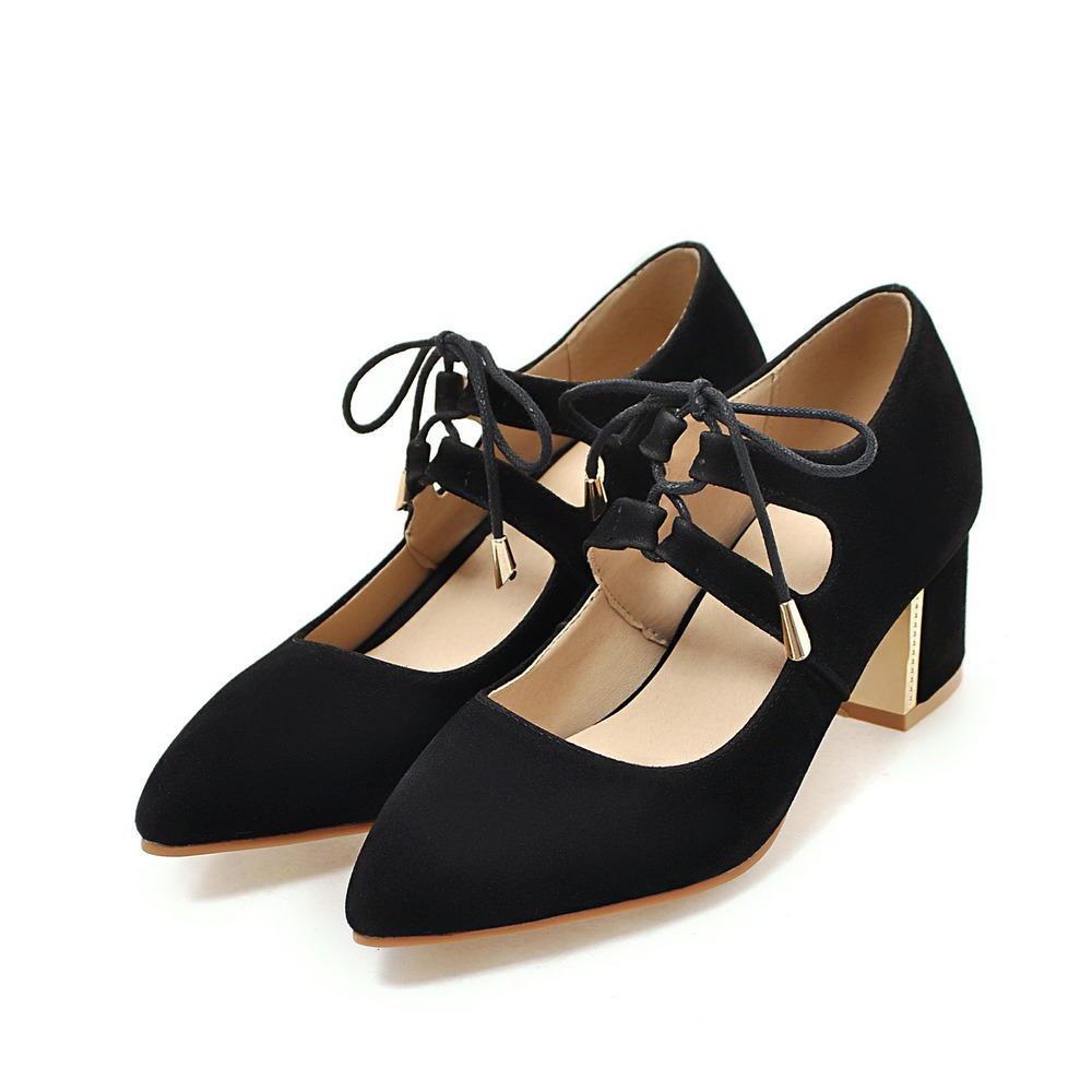 Big Plus Size Spring Women Pumps Mary Jane Block High Heels Pointed Toe Lace-up Faux Suede Summer Dress Party Black Ladies Shoes new 2017 spring summer women shoes pointed toe high quality brand fashion womens flats ladies plus size 41 sweet flock t179