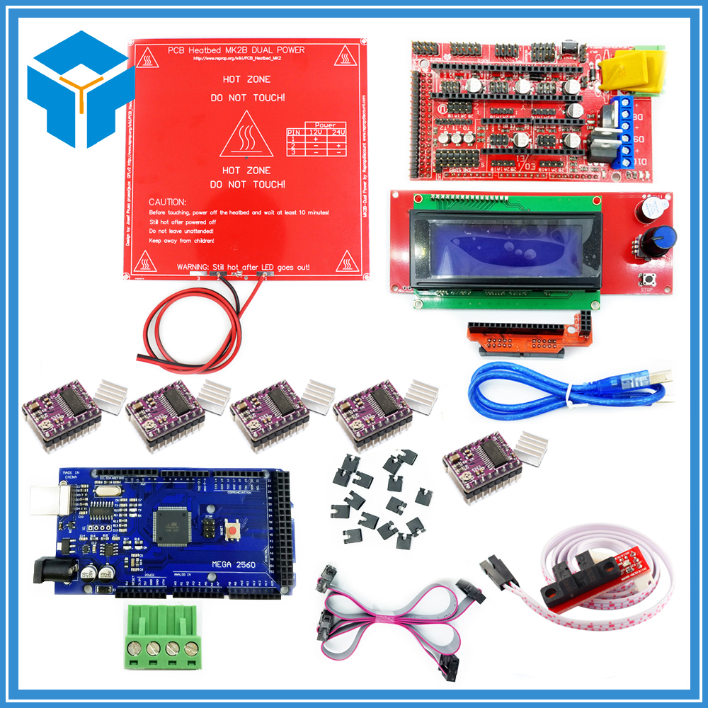 CNC 3D Printer Kit Mega 2560 R3 + Red MK2B + RAMPS 1.4 Controller + LCD 2004 + 6 Optical Switch Endstop + 5 DRV8825 3 pcs new opto optical endstop end stop switch cnc optical endstop using tcst2103 photo interrupter
