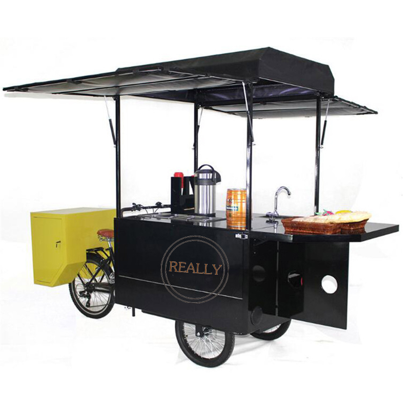 commercial fruit vending cargo trike pedal food bike fast food snack tricycle for sale