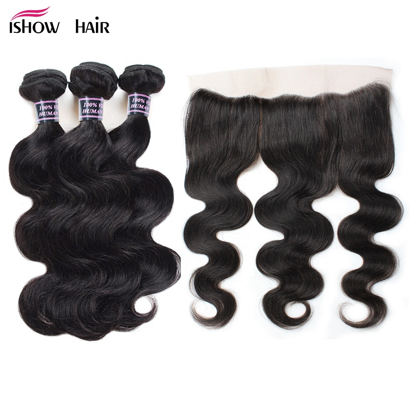 Ishow Indian Body Wave 13X4 Ear To Ear Lace Frontal Closure With Bundles Non Remy Human Hair With Lace Frontal Baby Hair