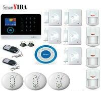 SmartYIBA WiFi Ev Koruma GSM GPRS SMS Alarm Sistemi Kablosuz Mavi Siren PIR/Kapı/Hareket Alarm Sensörü APP kontrol Cihazı Kiti