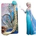 3 pçs/set Princesa Elsa Anna Menina Coroa Presente Brithday 1 conjunto = Varinha Mágica Varinha Mágica + Coroa de Strass Cabelo + cabelo Trança