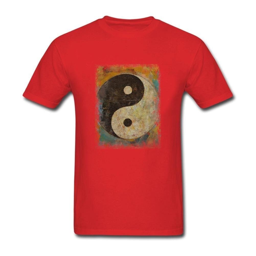 T shirt design red - Yin Yang T Shirt Design Online Fitness Tee Shirt Men Short Sleeve Father S Day Plus Size