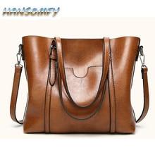 HANSOMFY Women bag Oil wax Women's Leather Handbags Luxury L