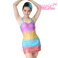 Camisole full rainbow A Line Sequin Lyrical Latin Dress Dance Costume