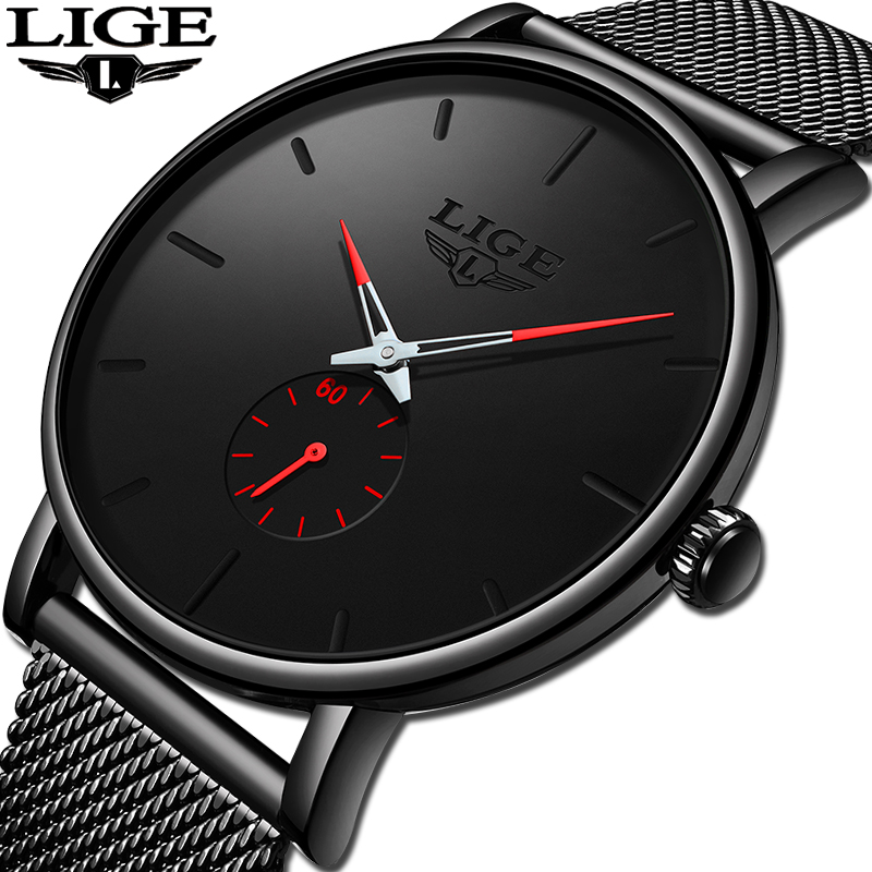 2019 New LIGE Fashion Sport Mens Watches Brand Luxury Waterproof Simple Watch Men Ultra Thin Dial