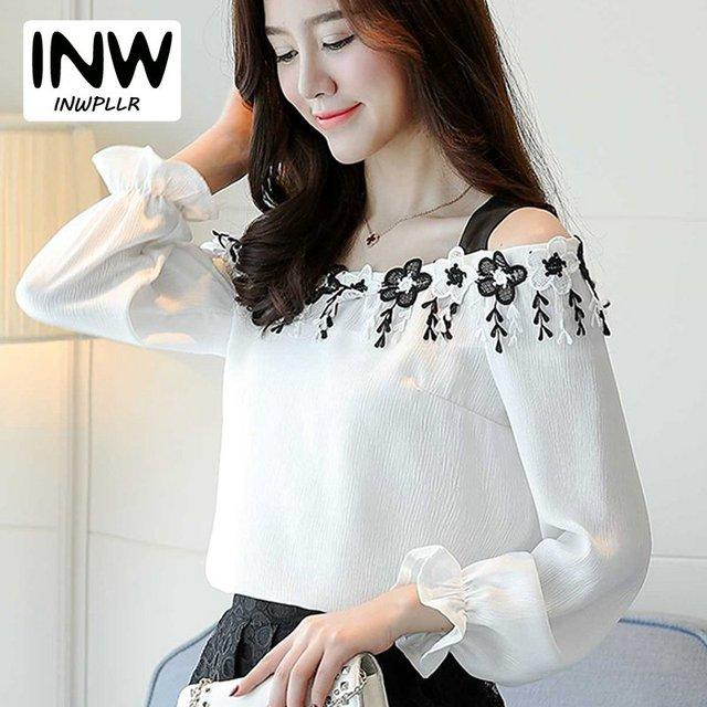813f8fc7e9 2019 Autumn Women Blusas Fashion Elegant Slash Neck Off Shoulder Tops  Female Chiffon Blouse Mujer Flowers Tassel White Shirts