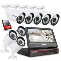 Techege 8CH PoE Camera Security System 8PCS Outdoor IP Camera 1080P 8CH PoE NVR 10 1