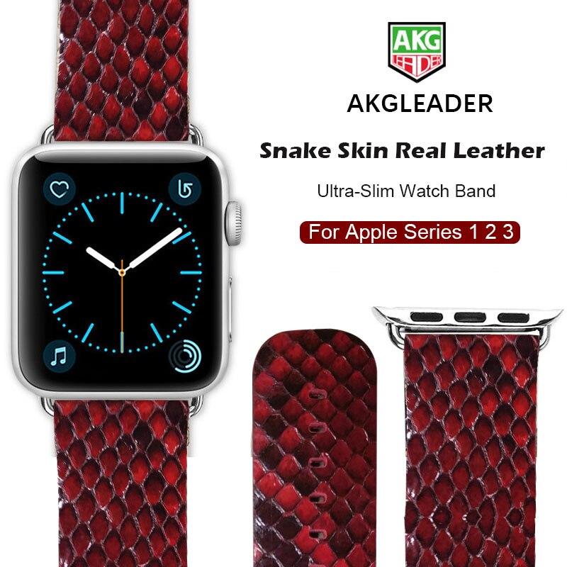 Más nuevo reloj para Apple reloj genuino reloj de cuero de la piel de serpiente para Apple serie 1 2 3 reloj iWatch 38-42mm