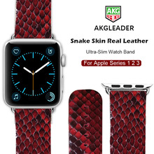 Newest Watch Band For Apple Watch Genuine Snake Skin Leather Watch Strap For Apple Series 1 2 3 Watchbands iWatch 38-42mm genuine leather watch band strap for herm apple watch band series 1 2 3 iwatch 38 42mm watchbands bracelet for apple watch
