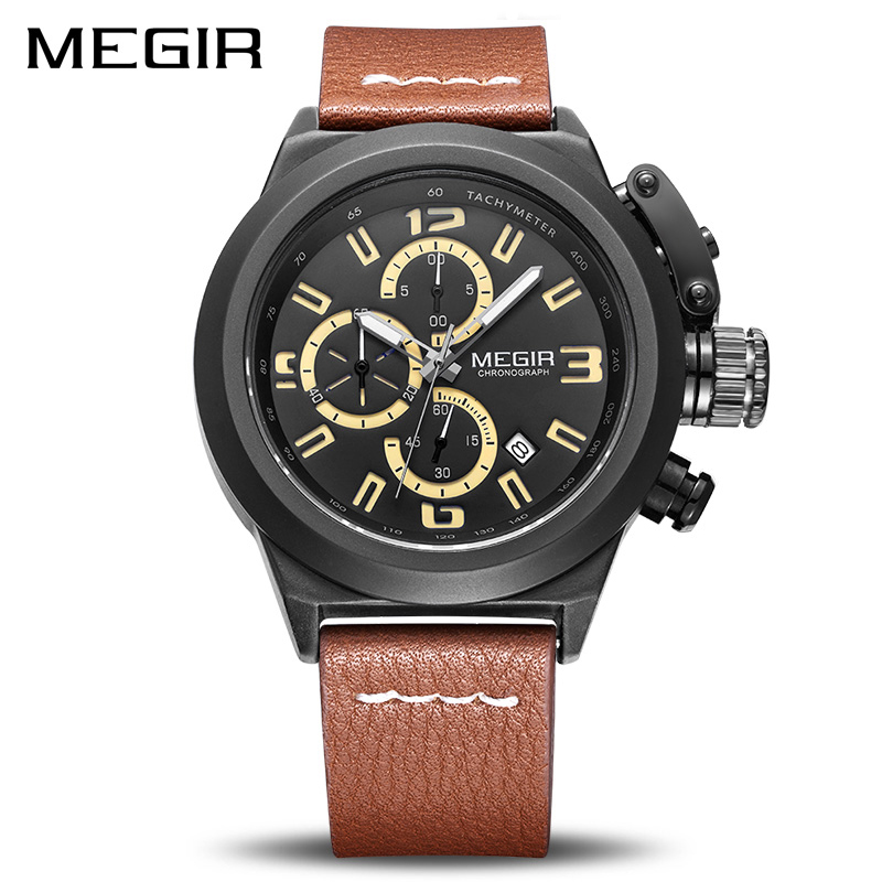 MEGIR Quartz Men Watch Luminous Relogio Masculino Multifunction Wrist Watches Men Clock Chronograph Watches Reloj Hombre 2029
