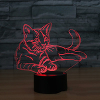 Cat 3D Night Light Animal Changeable Mood Lamp LED 7 Colors USB 3D Illusion Table Lamp For Home Decorative As Kids Toy Gift 2